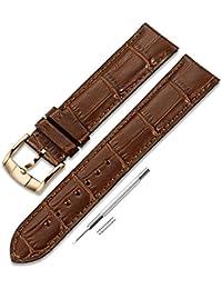 Correa de reloj de piel de becerro genuino 18mm 19mm 20mm 21mm 22mm de acero inoxidable de oro rosa Hebilla de pasador normal CHIMAERA