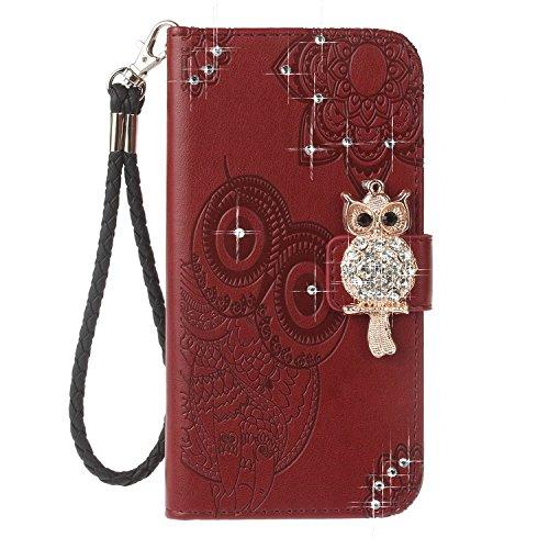 iPhone X Cover, Case in Pelle PU di Lusso Portafoglio con Fessure di carta Cover Protettiva per iPhone X / iPhone 10 rosso