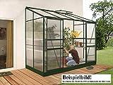 Gartenwelt Riegelsberger Anlehngewächshaus IDA - Ausführung: 6500 HKP 4 mm dunkelgrün, Fläche: ca. 6,5 m², mit 2 Dachfenster, Sockelmaß: 1,90 x 3,17 m