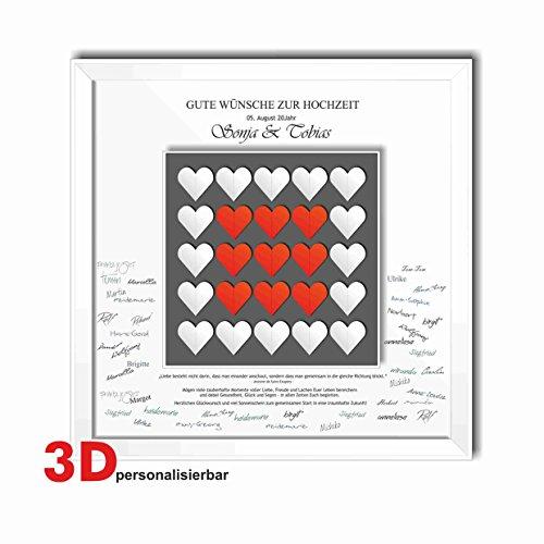 Bilderrahmen Hochzeit Gästebuch Herz viele Herzen in rot und weiss gefaltet 50x50 cm Geschenk Brautpaar Trauung Ehe