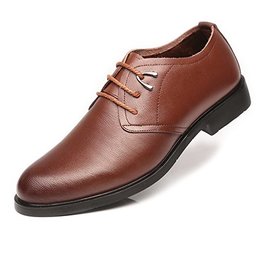 L.J.JZDY Herren Schuhe Klassische Herren-Halbschuhe aus PU-Leder mit Schnürung aus weicher Sohle und Flaschendekleid, atmungsaktiv Geschäft (Color : Fleece Inside Brown, Größe : 6.5 UK) Fleece Uniform