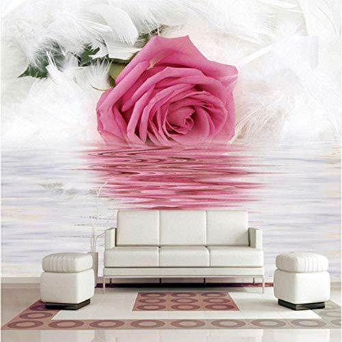 Makeyong Romantische Rose Feather Reflexion Über Wasser Foto Tapete Moderne Kunst Innenarchitektur Dekor Wandbilder 3D Schöne Blume Tapeten-250x175cm -