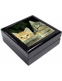 'Soulmates' Kittens in Beer Barrel Keepsake/Jewellery Box Christmas Gift