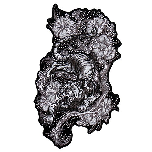 TIGER FLOWERS, High Thread Iron-On / Saw-On Rayon PATCH - 3