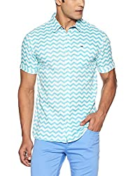 Tommy Hilfiger Mens Casual Shirt (8903876888968_P6ATW043_Large_Scuba Blue On Egret)