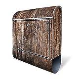 BANJADO Design Briefkasten mit Zeitungsfach, 2 Schlüssel, A4 Einwurf, silber pulverbeschichtet, mit Motiv Altes Holz