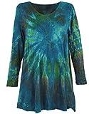 Guru-Shop Batik Minikleid, Langarm Boho Tunika, Damen, Petrol, Synthetisch, Size:38, Kurze Kleider Alternative Bekleidung