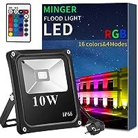 Minger LED Fluter RGB 10W Strahler Außen Mit 24 Tasten Fernbedienung, 16 Farbwechsel, Wasserdicht IP66 Spotbeleuchtung Garten Stimmungslichter
