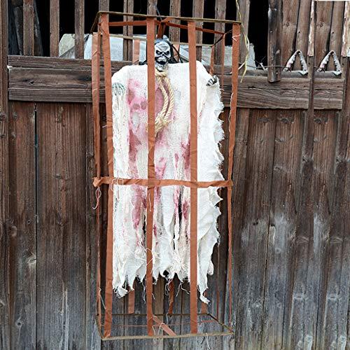 JIBO Stimmkontrolle Käfig Weiß Geist Halloween Requisiten Käfig Käfig Hängende Geist Horror Entität Scary Spukhaus Szene Anordnung Requisiten,White (Halloween Geist Von Requisiten)