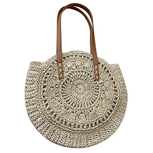 Handarbeit Schultertasche Creative Strohtasche Runde Sommertasche Einkaufstasche Für Reisen Und Den Täglichen Gebrauch Handtasche ()