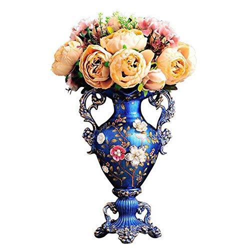 ZFF Blau Vase Vintage Getrocknete Blumen Veranstalter Anzeige Zuhause Dekor Und Tabelle Mittelstücke Vase Kunst Verzierungen Wohnzimmer Veranda 37,5 cm