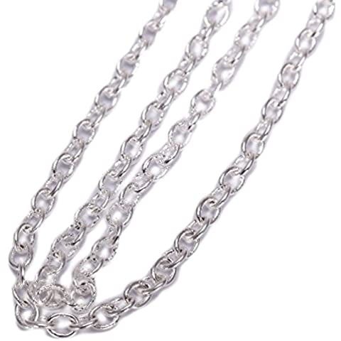 Top Quality 39 Inch Smooth Rolo Links Chain Necklace (2mm width) Sterling Silver Plated Copper #CF170-1 by Adabele