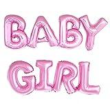 ballonfritz Luftballon Baby Girl Schriftzug in Pink - XXL Folienballons als Geschenk zur Geburt Eines Mädchen Oder Baby-Shower-Party Deko