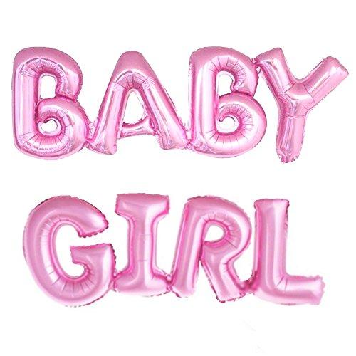 llon Baby Girl Schriftzug in Pink - XXL Folienballons als Geschenk zur Geburt eines Mädchen oder Baby-Shower-Party Deko ()