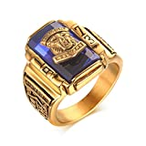 Vnox Herren Edelstahl 1973 Walton High School Klasse Signet Band Rings Blue Gold
