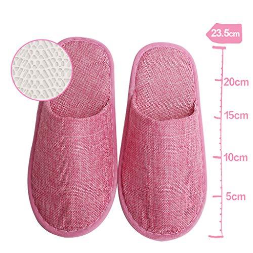 ciabatte aperte/chiuse, per pantofole spa, party guest, hotel e viaggi antiscivolo e lavabili e non monouso -10 paia,pink
