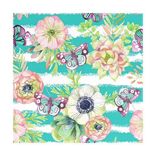 NaiiaN Tischsets 12x12 Zoll 1 Stück hitzebeständige Streifen wunderschöne Schmetterling rutschfeste Tischsets für Esszimmer Küche - Square Schmetterling Blatt