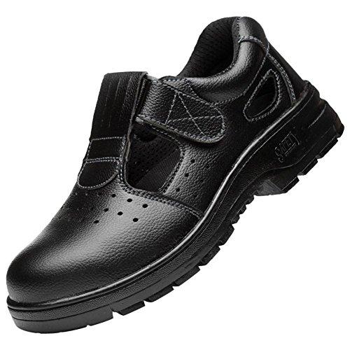 Santimon Sneakers Scarpe Uomo da Lavoro Antinfortunistiche in Acciaio Scarpa Antiperforazione Estive Nero 37 EU
