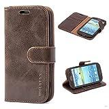 Mulbess (Vintage bookstyle) Premium Handy Schutzhülle Ledertasche im Kartenfach für Samsung Galaxy S3 / S3 Neo (4,8 Zoll) Tasche Hülle Leder Etui Schale,Vintage Braun