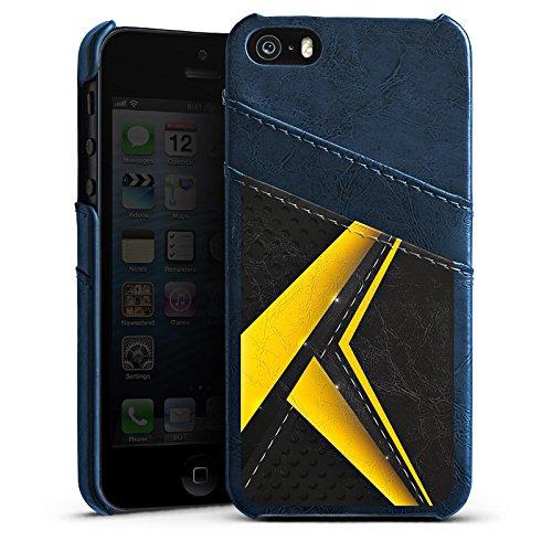Apple iPhone 5s Housse Outdoor Étui militaire Coque Noir jaune Motif Motif Étui en cuir bleu marine