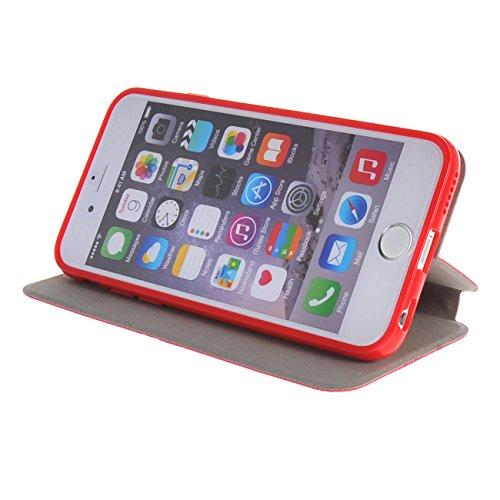 MOONCASE Étui pour iPhone 6 / 6S Plus (5.5 inch) Premium PU Portefeuille Cuir Coque en Housse de Protection Case à rabat Doré Rouge #1104