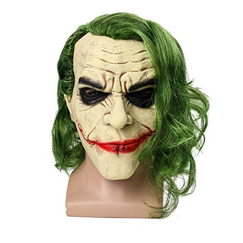 HalloweenClown Maske Cosplay Horror unheimlich Clown Maske grünes Haar Perücke Halloween Latex Maske Party Kostüm