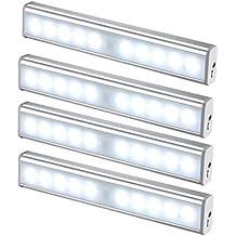 JESWELL Led del Sensore di Movimento Wireless Ricaricabile Luce con Interruttore, USB Luce Notturna Lampada da Armadio Scale Corridoio Guardaroba Cucina, Attaccare Ovunque con Striscia Magnetica, 10 Luminosa LED [Aggiornata Confezione da 4]