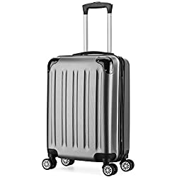 Valise cabine 55cm bagage a main ABS 4 roues rigide ultra leger 6 couleurs 40L(Gris)