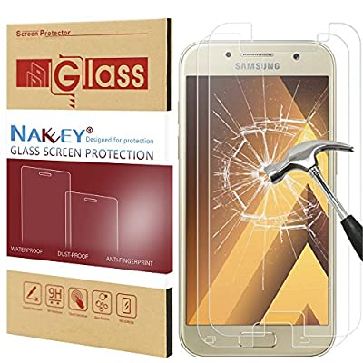 Galaxy A5 2017 Screen Protector, Nakeey HD Clear [Shock-Proof] [Anti-Scratch] Tempered Glass Screen Protector Protective Anti-Shatter Film Cover for Samsung Galaxy A5 (2017) - 2 Pack