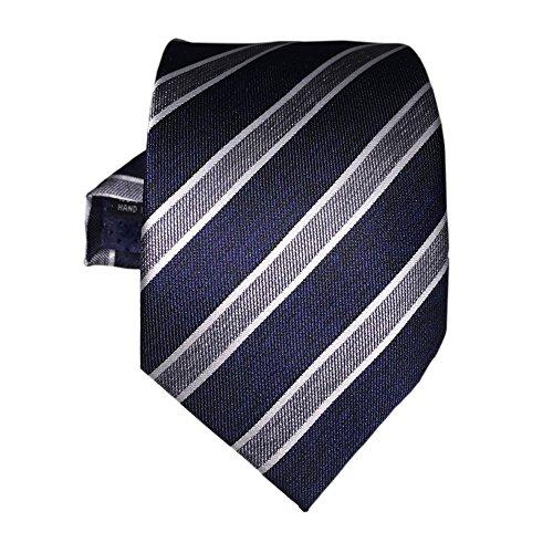 Exquisite Tie: Stylische Krawatte Seide blau weiß saphirblau hellblau gestreift