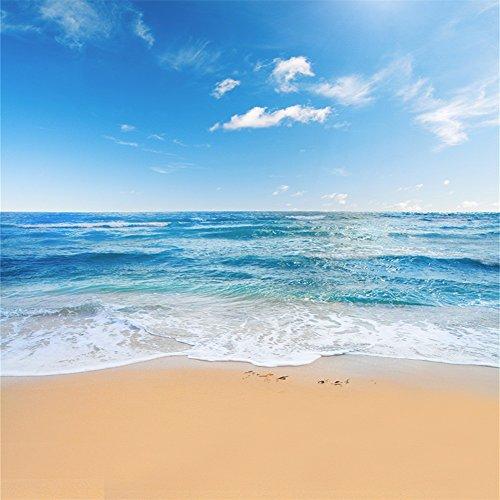 YongFoto 2x2m Vinyl Foto Hintergrund Strand Meer Küste Landschaft Blauer Himmel Weiße WolkenFotografie Hintergrund für Fotos Fotoshooting Baby Party Banner Kinder Fotostudio Requisiten