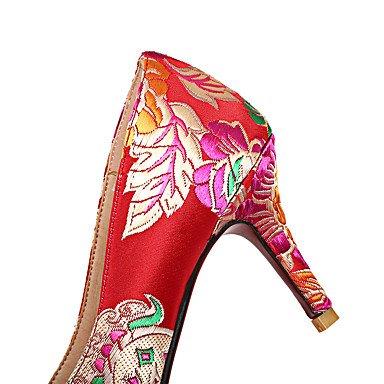 Talloni delle donne Primavera Estate Autunno Scarpe Comfort ricamati in seta da sposa di feste ed abito da sera tacco a spillo viola del fiore rosso che cammina Red