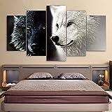 Incluyen frame HD 5 pedazo de lona impresa arte abstracto Lobo Blanco Negro par pintar cuadros...