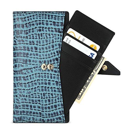 DesignSkin [Wallet Plus] Universal Fall 2in 1Folio Flip Cover Fall Slide Abnehmbarer Karte Halterung Snap Leder Schutztasche Geldfach Speicher für iPhone Galaxy Huawei LG, Croco/Blue Snap Folio
