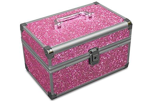 (MARELIDA® Schmuck-Kästchen in Pink | Glitzer-Optik | Premium Schmink-Beauty-Koffer - klappbaren Fächer | Edel in Form & Design | Ideal als Geschenk)