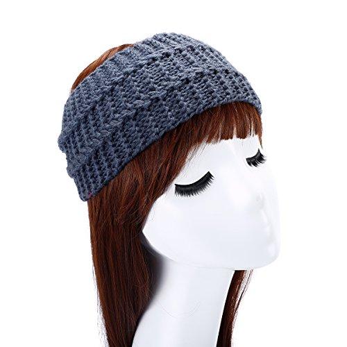 Butterme Femme Hiver Mode Elastique Crochet bandeau Bande de Cheveux Bandeau en laine Twist Bandeau gris foncé