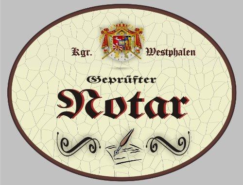 Holzschild Notar - Schild Westfalen (18 x 14 cm) (Holz Notar)