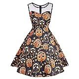 VEMOW Ausverkauf Angebote Frau Kostüm Mode Halloween A-Linie Spitze Kurzarm Party Casual Täglichen Vintage Kleid Abend Party Kleid(X2-Orange, EU-40/CN-XL)