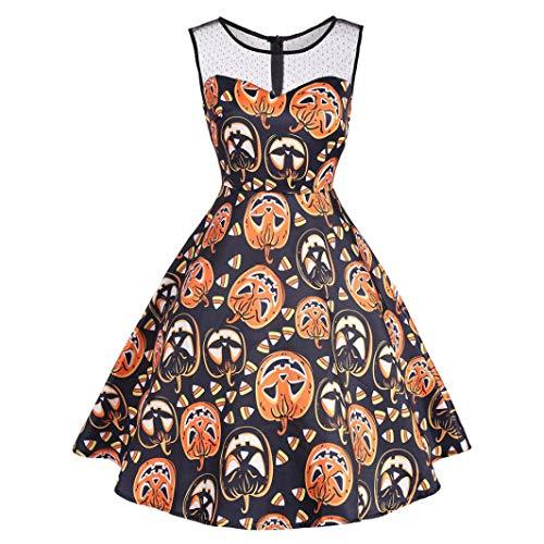 VEMOW Ausverkauf Angebote Frau Kostüm Mode Halloween A-Linie Spitze Kurzarm Party Casual Täglichen Vintage Kleid Abend Party Kleid(X2-Orange, EU-34/CN-S)