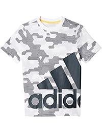 Adidas Yb Lr S Tee Maglia per Bambino, Bianco/Grigio (Bianco/Griosc), 128