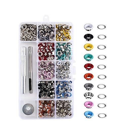 ETSAMOR Ösen Set 300 Stücke Metall Ösen mit Installation Werkzeuge für Taschen Schuhe Kleidung DIY Handwerk 3/16 Zoll 10 Farben