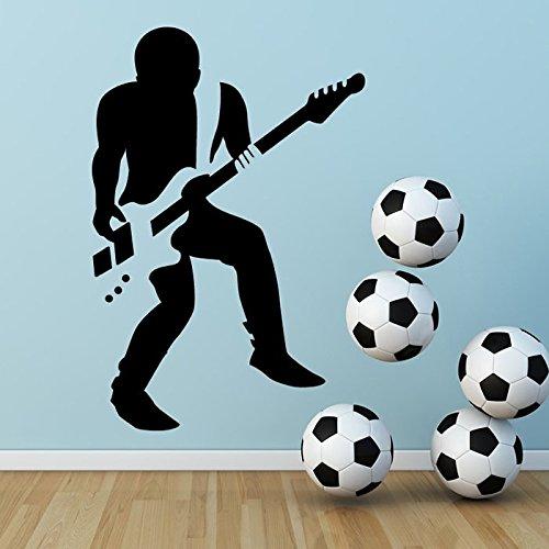 Azutura chitarrista rock adesivo da parete musica per chitarra adesivo ragazzi camera da letto casa arredamento disponibile in 5 dimensioni e 25 colori grande nero