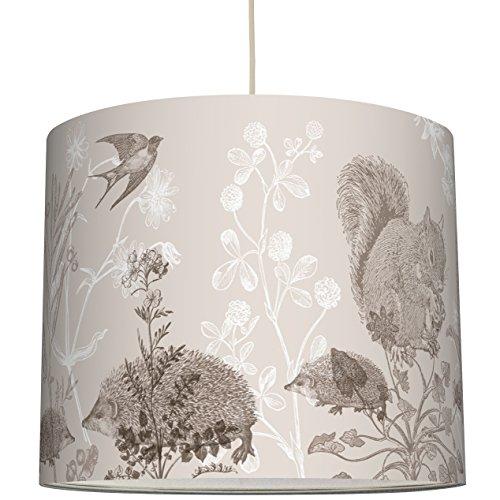 anna wand Lampenschirm Design WALDTIERE & PFLANZEN – Schirm für Lampen mit Natur-Motiv und Schrift – Sanftes Licht für Tischleuchte /...
