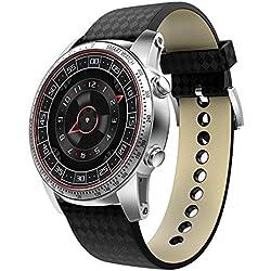 CITW 3G Smart Watch Téléphone Portable Android 5.1 MTK6580 Quad-Core 8GB ROM Détecteur De Fréquence Cardiaque Podomètre GPS Anti-Perdu Montre Intelligente,Silver