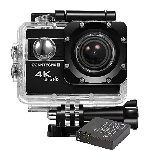 ICONNTECHS IT 4K Ultra HD Wasserfeste Sport-Actionkamera, 170° Weitwinkellinse, Full HD 1080P WiFi HDMI camcorder, Gratis Zubehör für Helm, Tauchen, Radfahren und Extremsport