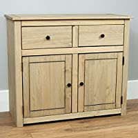 Vida Designs Panama Sideboard 2 Door 2 Drawer Natural Wax Oak Solid Furniture