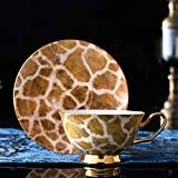 ACOOME - Set di Tazze da tè e caffè con piattino, in Porcellana Bone China, Porcellana d'Epoca Fiore di Tazza di tè, 1 x Tazza, 1 x piattino (Marrone)