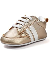 Zapatos De Bebé Zapatillas deportivas para bebés recién nacidos Primeros pasos calzado deportivo de cuero antideslizante suave para niños niñas pequeños infantiles Amlaiworld (Oro, Tamaño:6-12Mes)