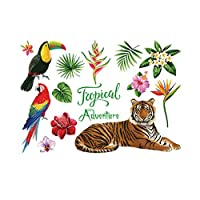 Home Wall Stickers Self Adhesive Tropical Mural Sticker Cartoon Tiger Parrot Wall Sticker DIY Art Mural Decals for Kids Room