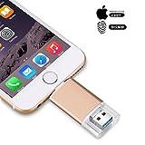 USB Flash Drive für iPhone USB 3.0 Speichererweiterung, 3 in 1 Externer Stick Memory Stick für Apple IOS Mac Android Windows Gerät (256GB, Red)
